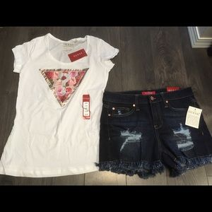 Guess Tshirt and Denim Shorts